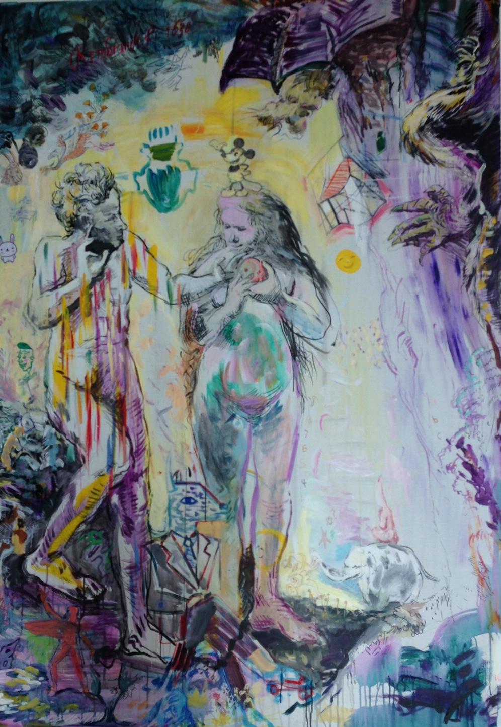 Garden of Eden , 2015 Mixed media on canvas 180 x 150 cm