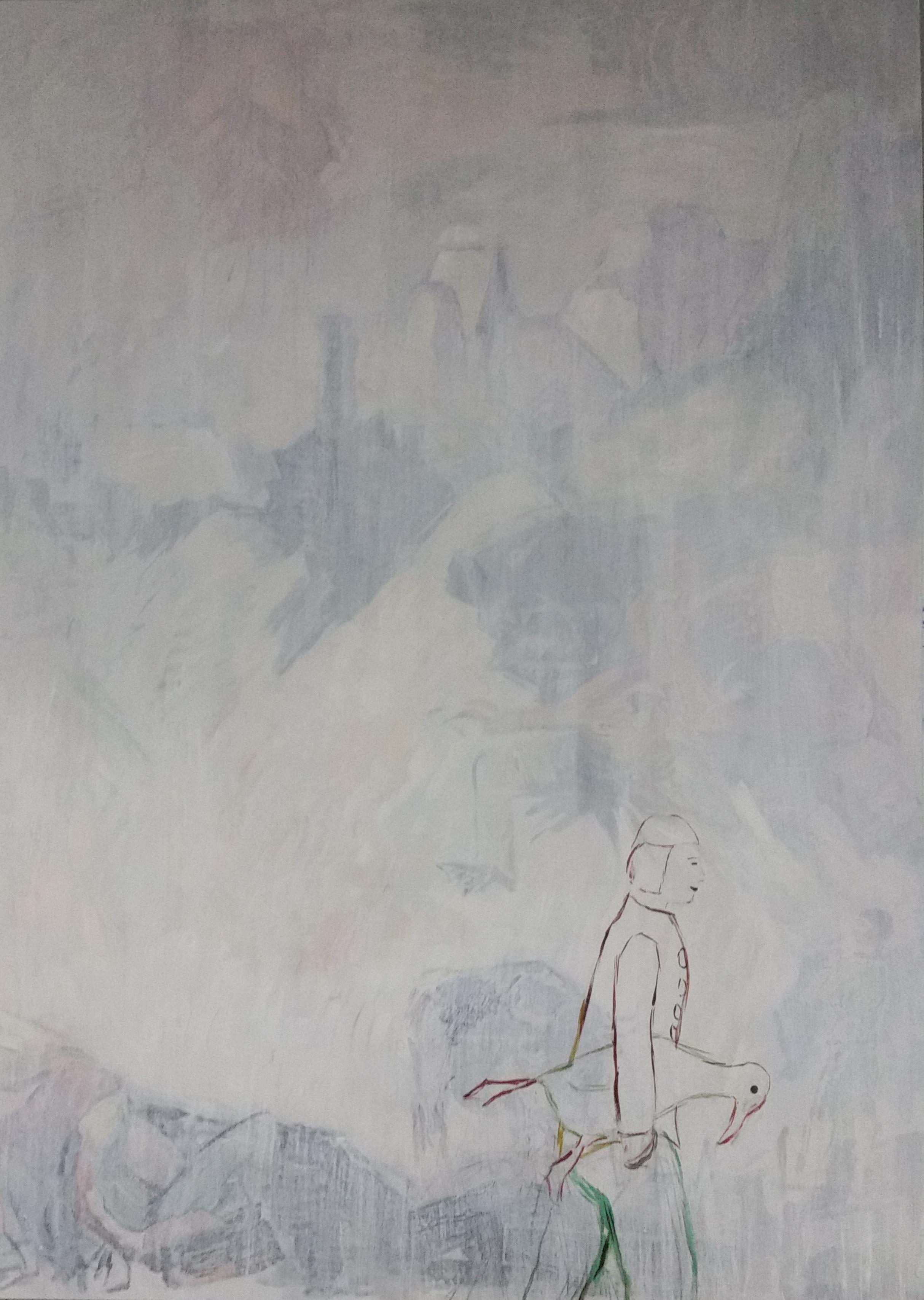 Nebel , 2015 Mixed media on canvas 213 x 152 cm