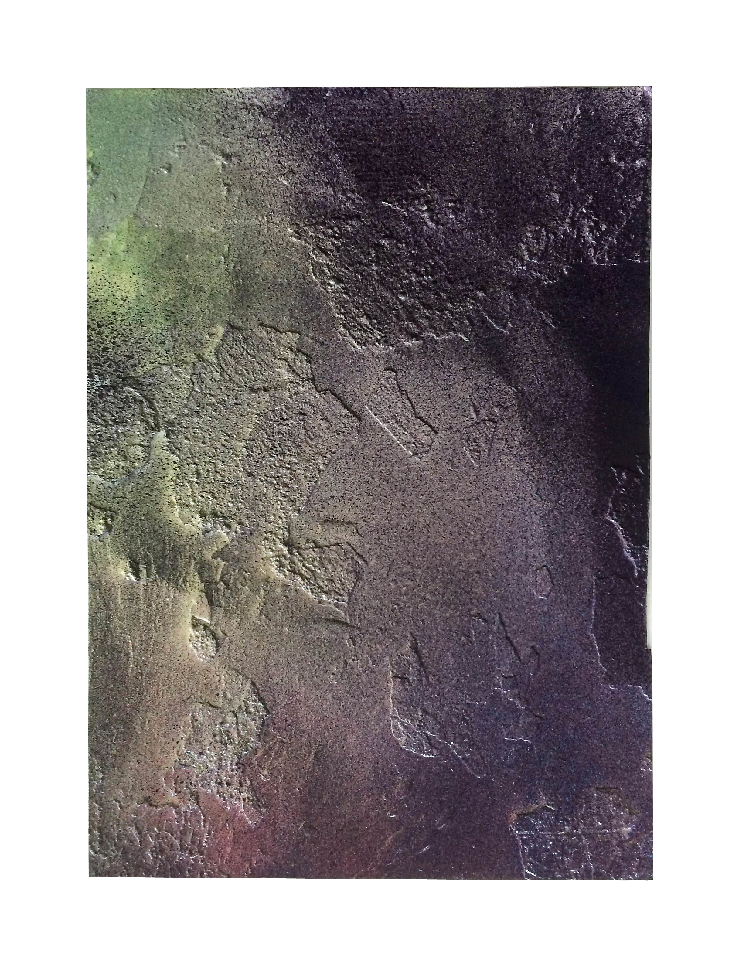 Untitled (  burnt   7), 2016   Oil pastell,  spray paint, paraffin wax and resin on paper  30 x 21 cm