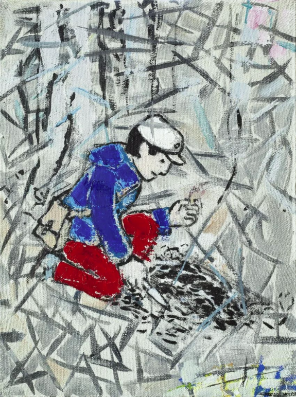 Child in forest , 2008 + 2018 Mxed media on canvas 40x30 cm