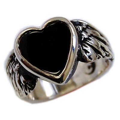 Onyx Flying Heart Ring