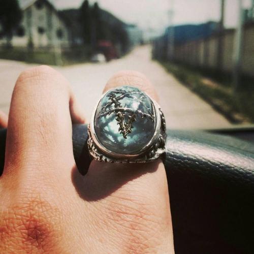 Aquamarine Silver Thorn Star Angel Heart Ring