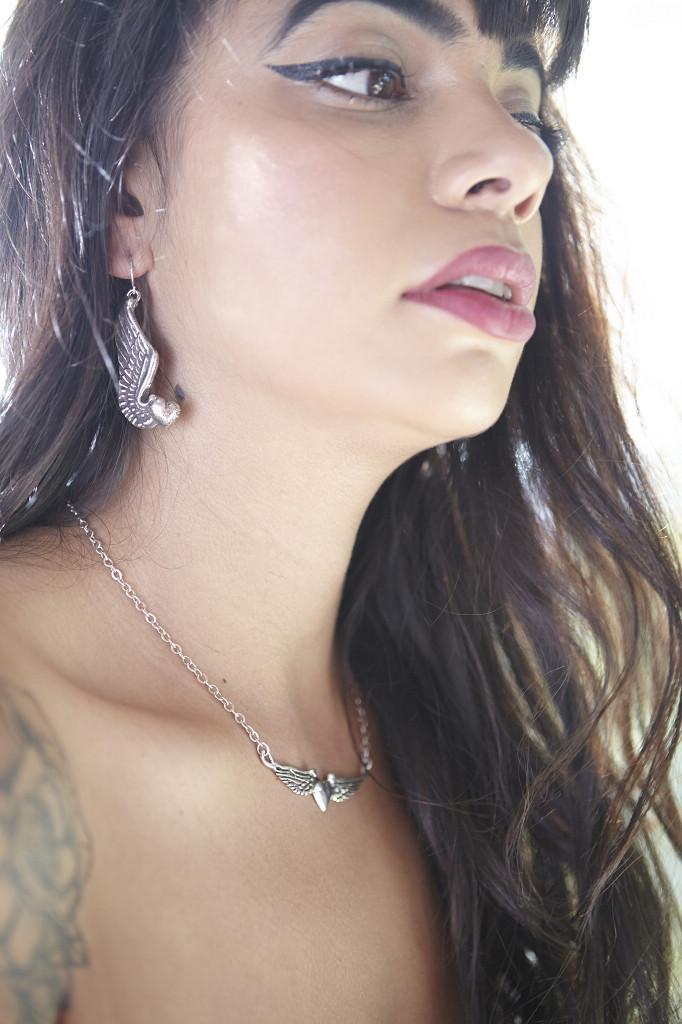 Flying Heart Earrings (Pewter)  Flying Heart Necklace
