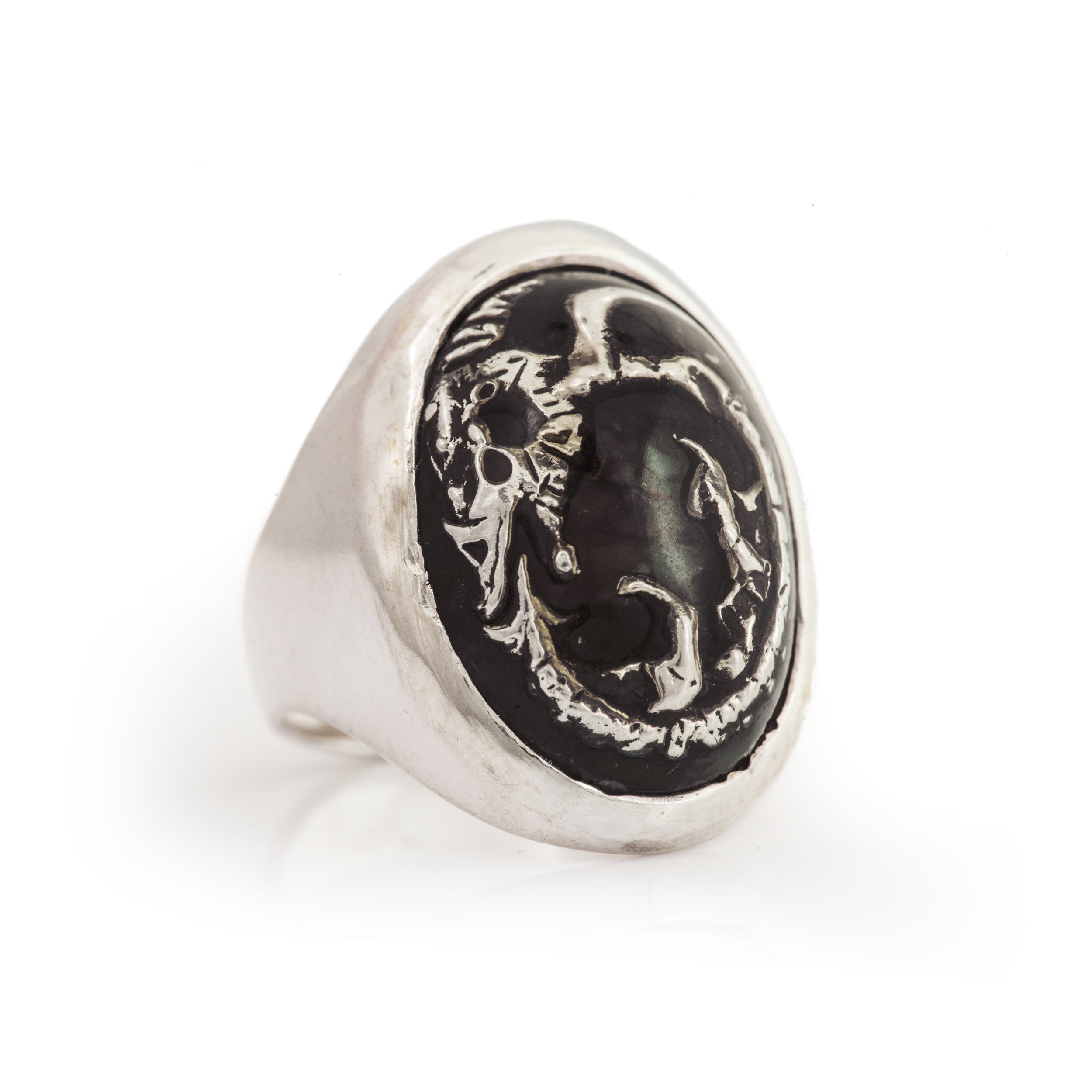 Fossil Dragon Ring - 黑瑪瑙