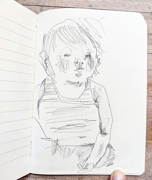 Daughter on holiday, probably requesting cake.#sweatytoddler #cakeplease #icecream #sketchbook #holiday