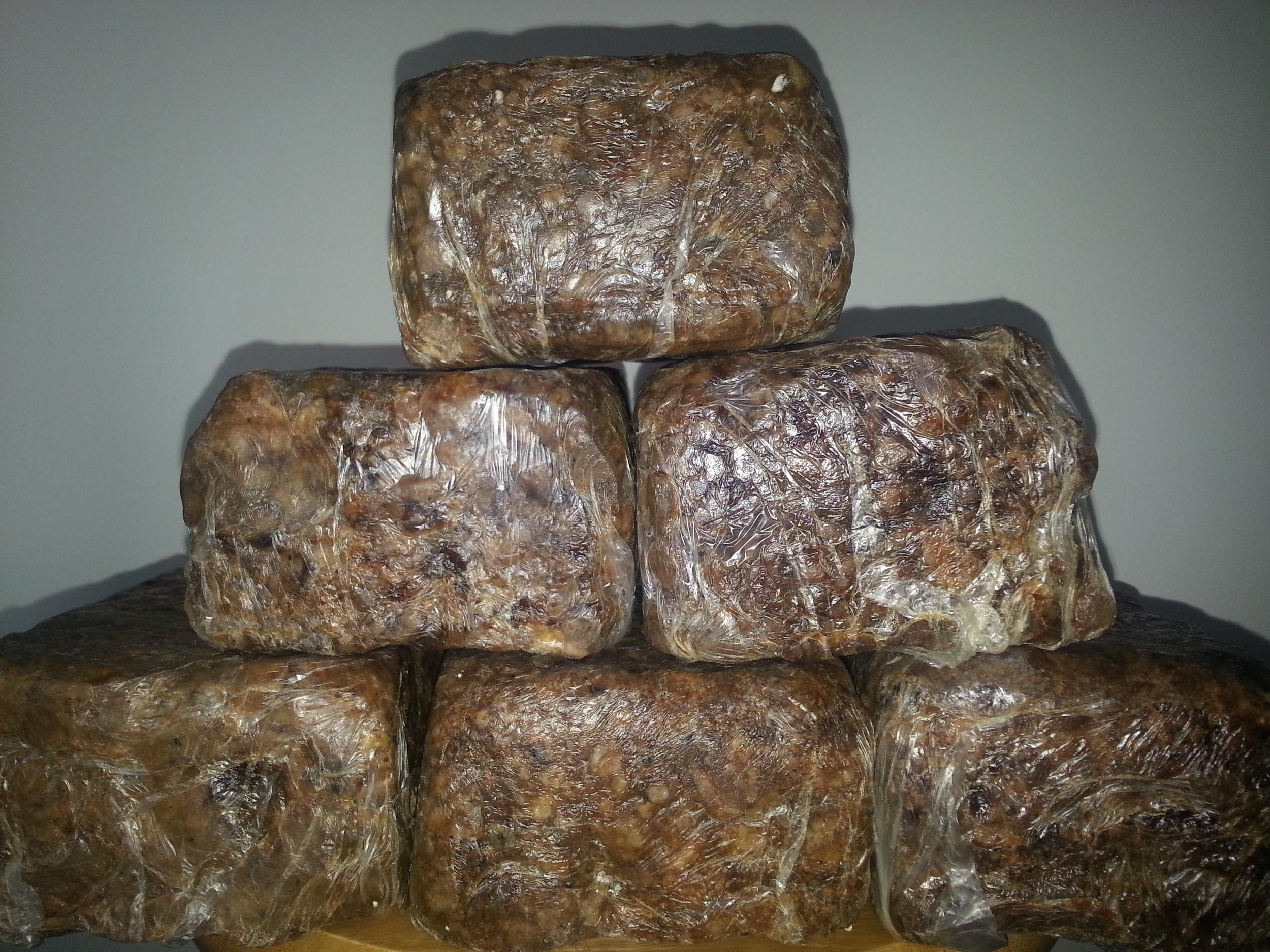 Soft Raw Black Soap in blocks      5lbs minimum      $4.25   per lbs