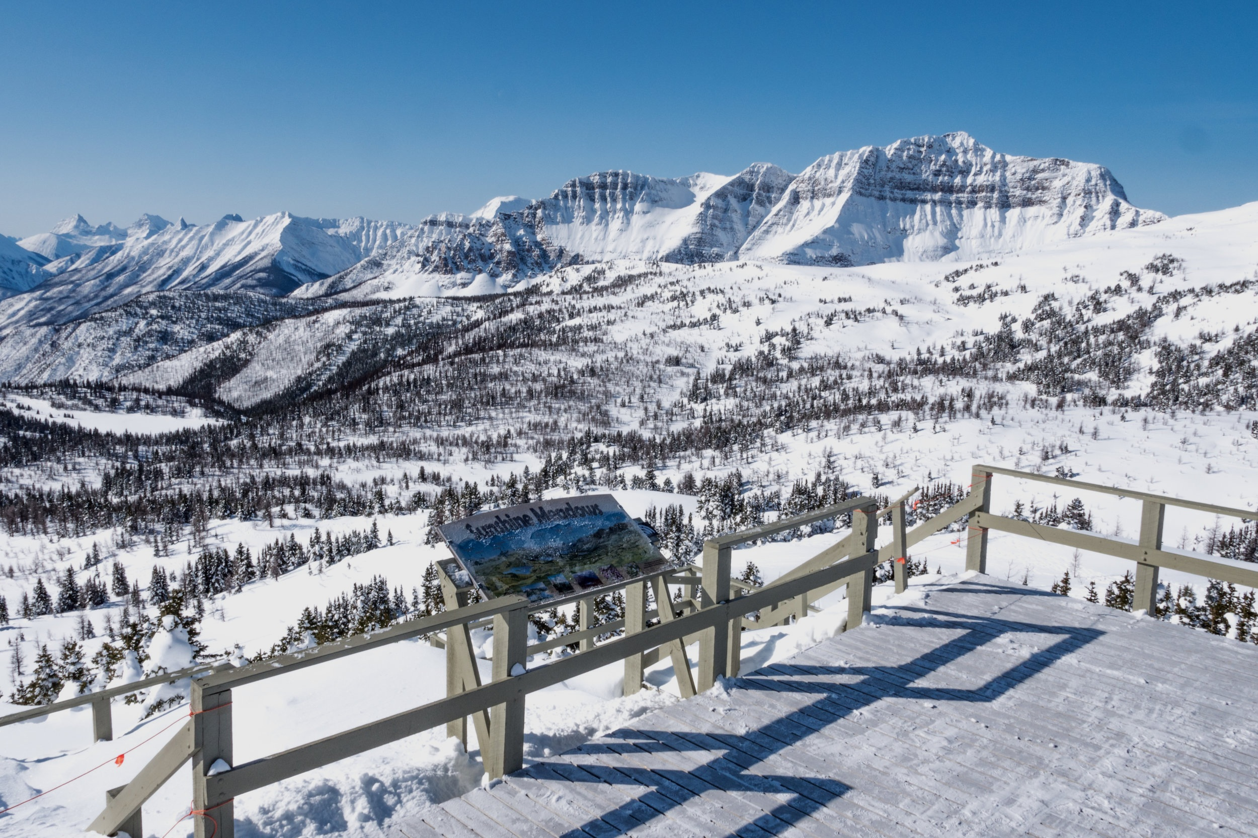 Standish Sightseeing - You don't need to be a skier or snowboarder to take in the out-of-this-world views that Banff Sunshine has to offer. Ride up the Standish chair and walk out to the Standish Lookout deck . Enjoy 360 degree view