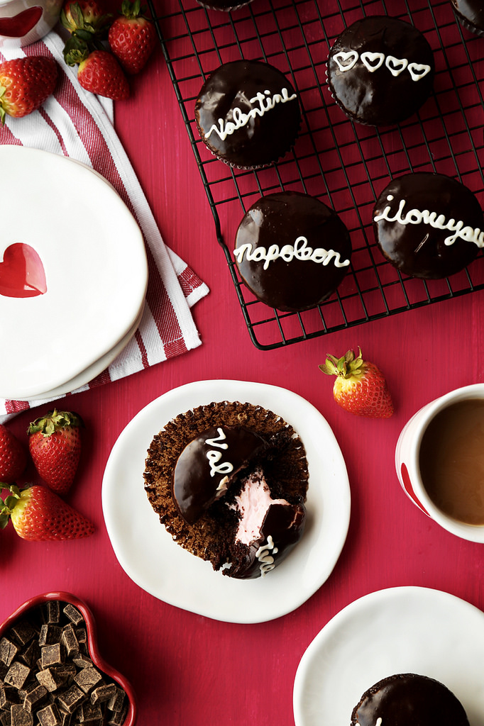 CHOCOLATE STRAWBERRY FILLED CUPCAKES