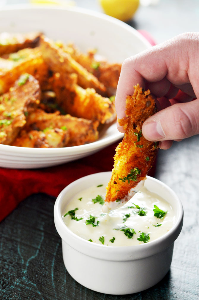 Parmesan and garlic crusted baked potato wedges