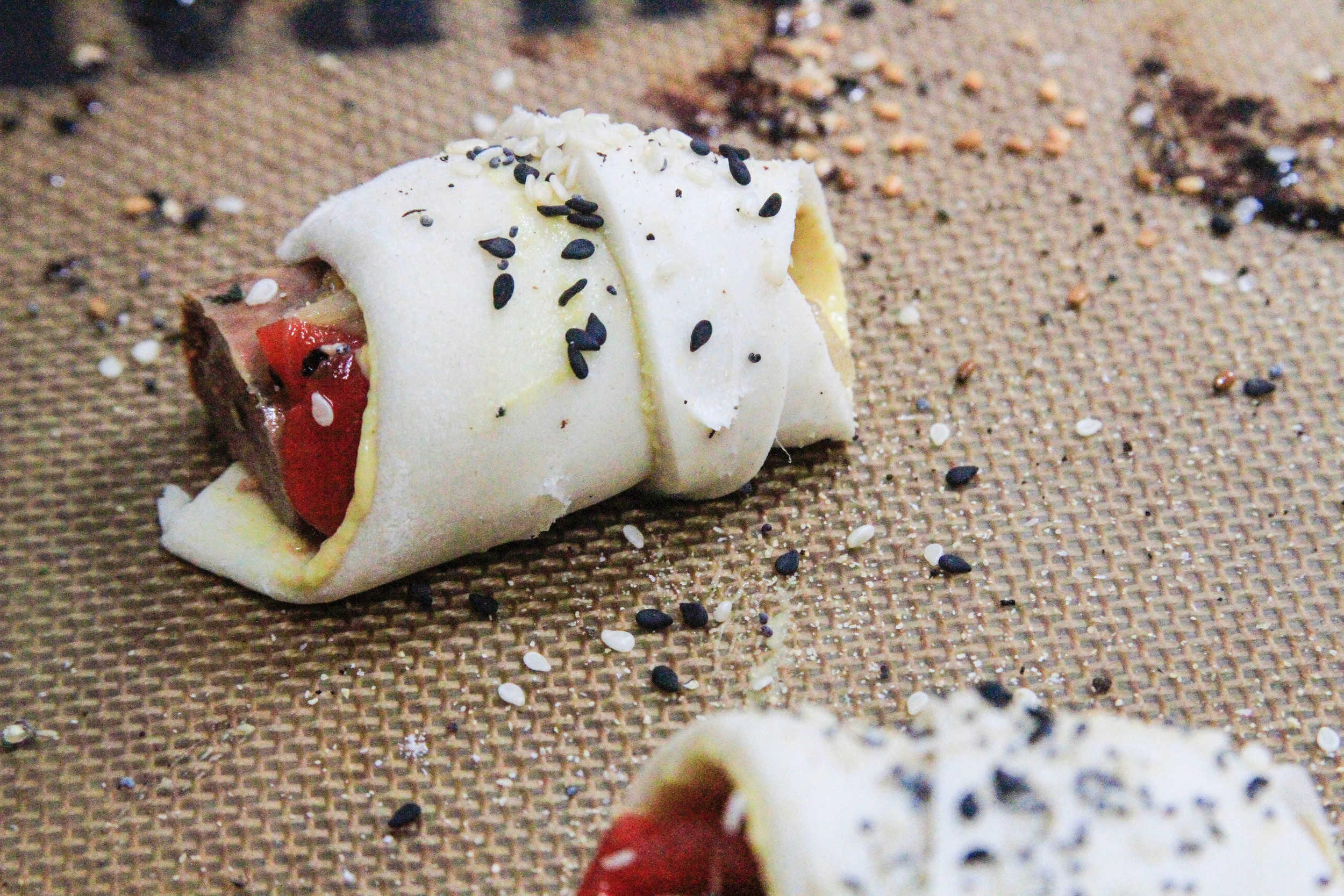 Sausage + pepper pigs in a blanket