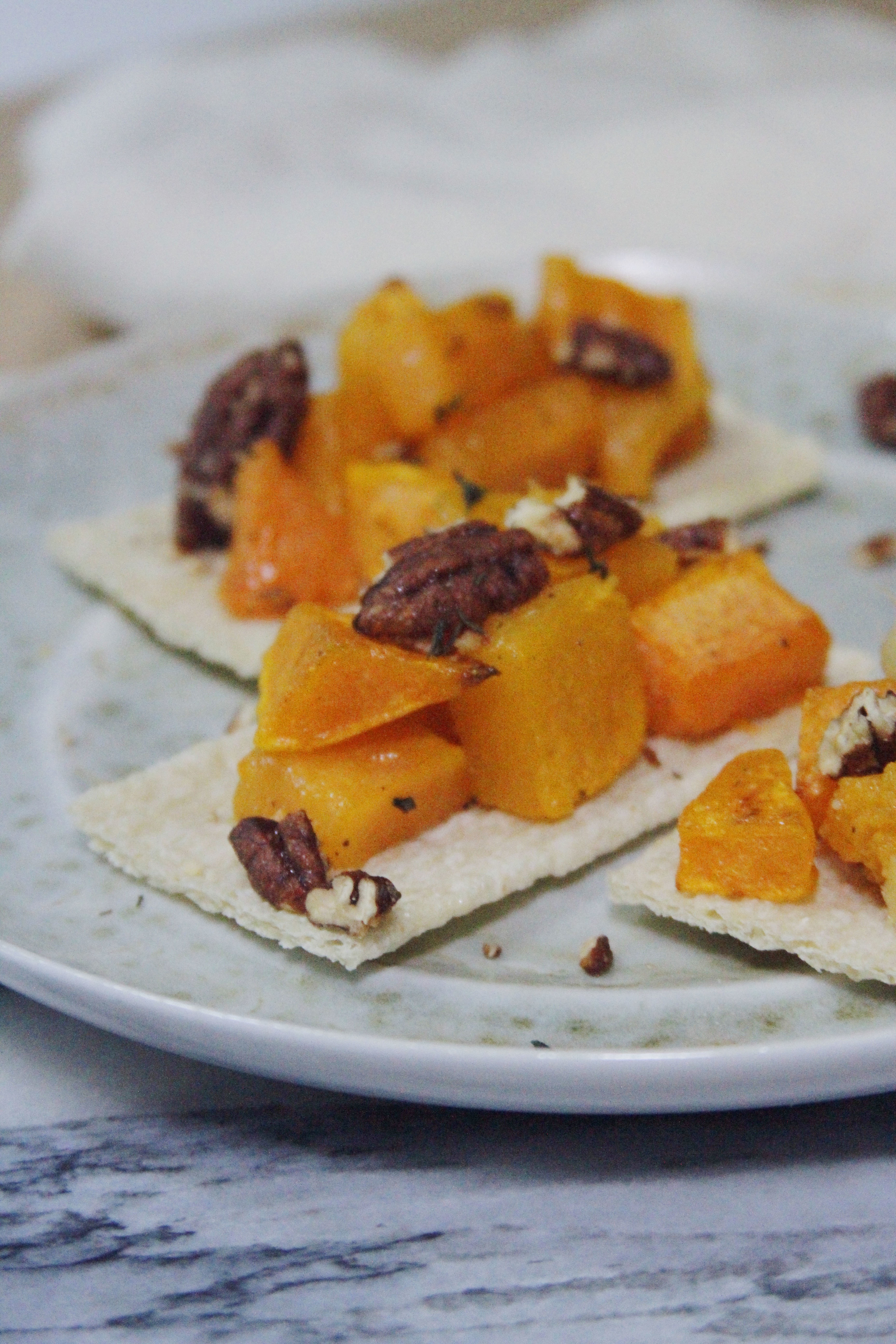 Roasted butternut squash with pecan Toasts