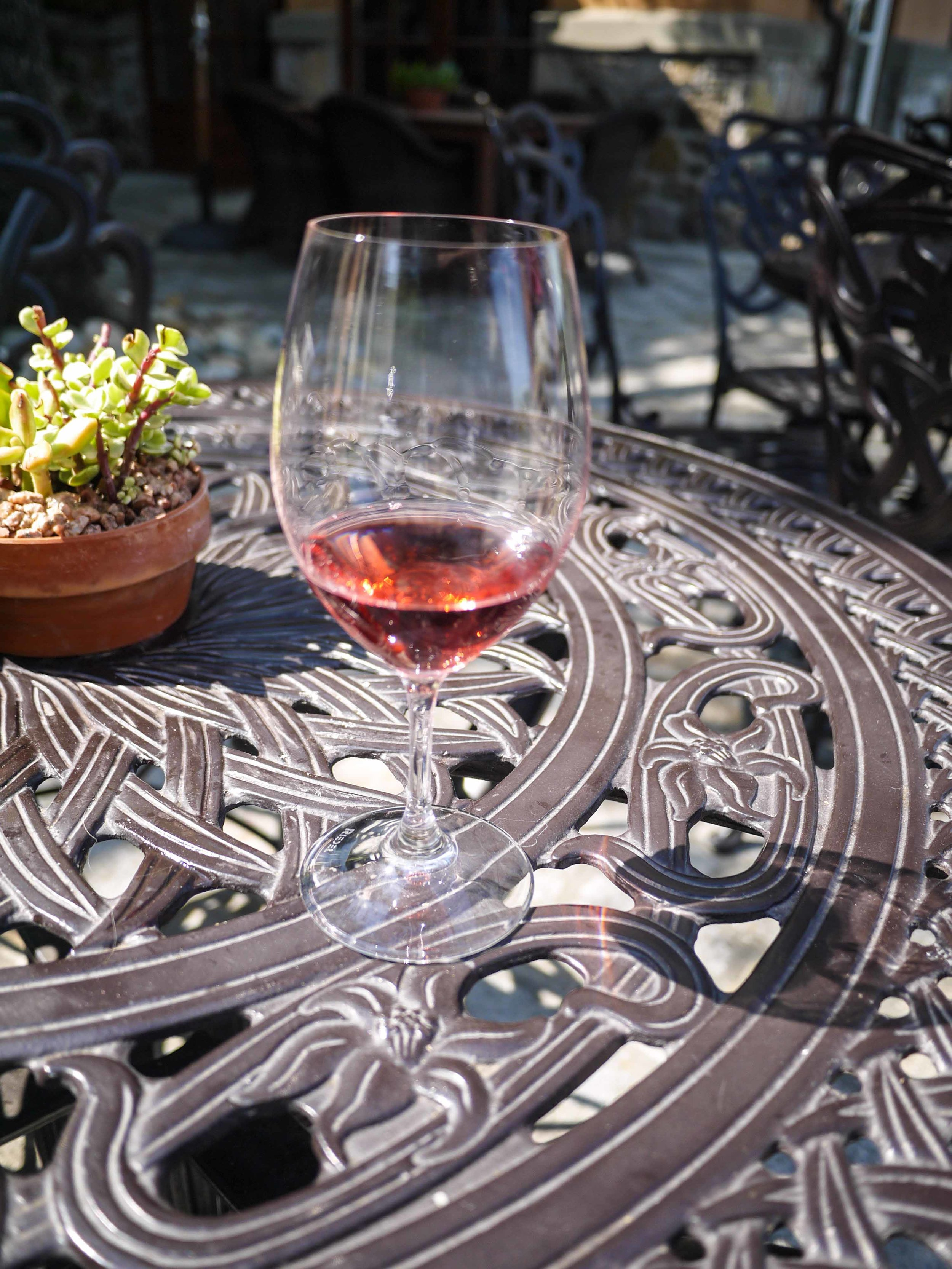 And some red was sipped on their beautiful patio.