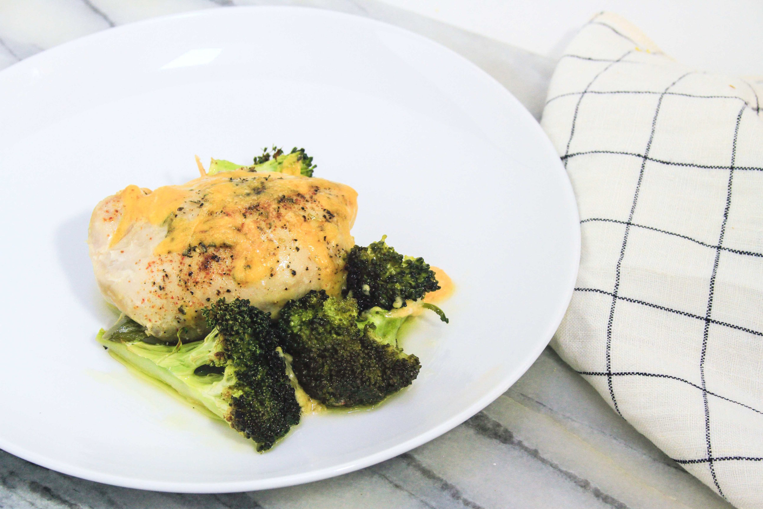 Cheddar and broccoli chicken thighs