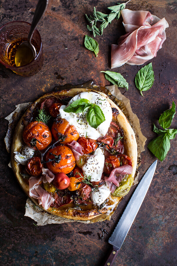 Quick balsamic fig, roasted tomato and burrata cheese tarts