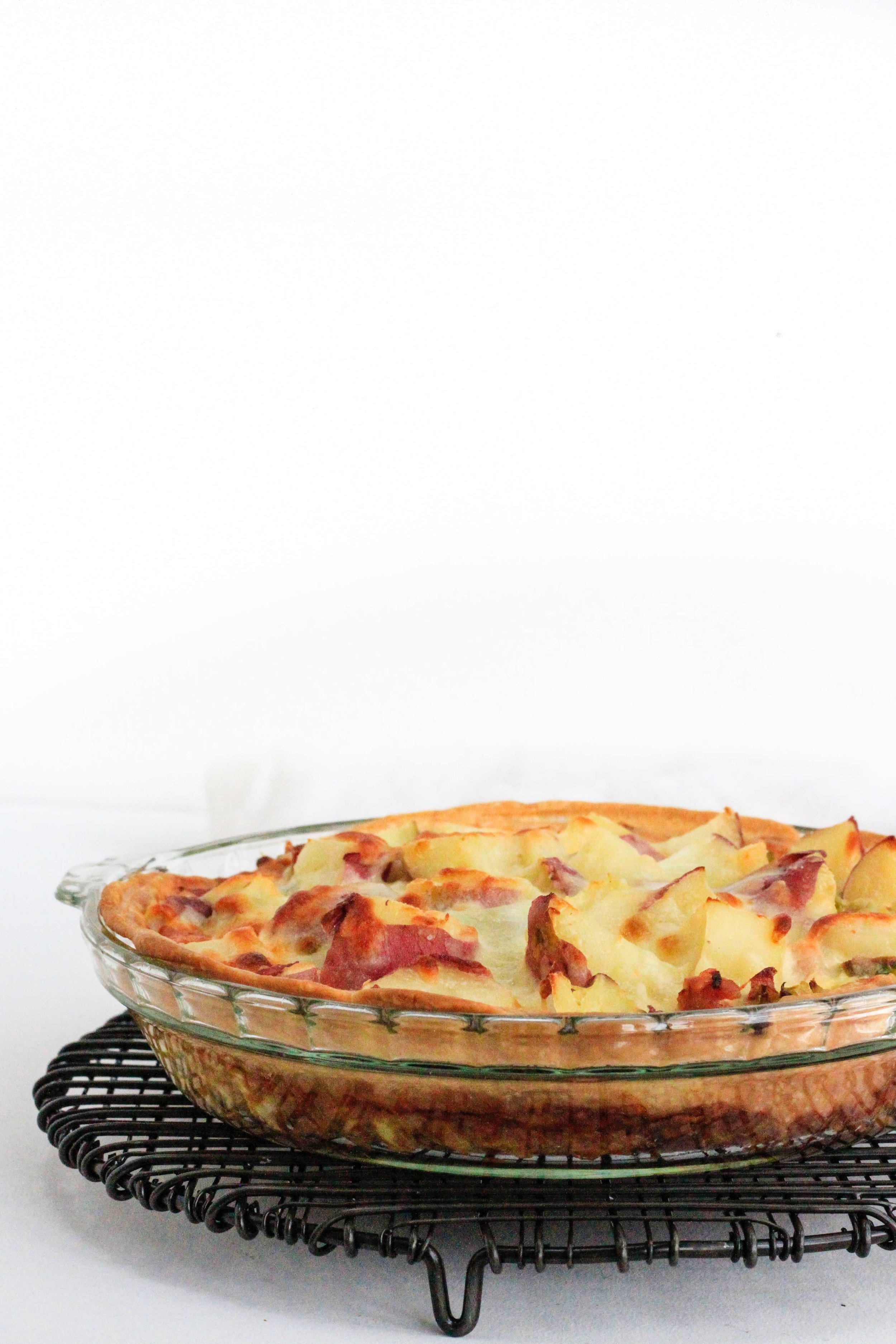Potato and ham quiche