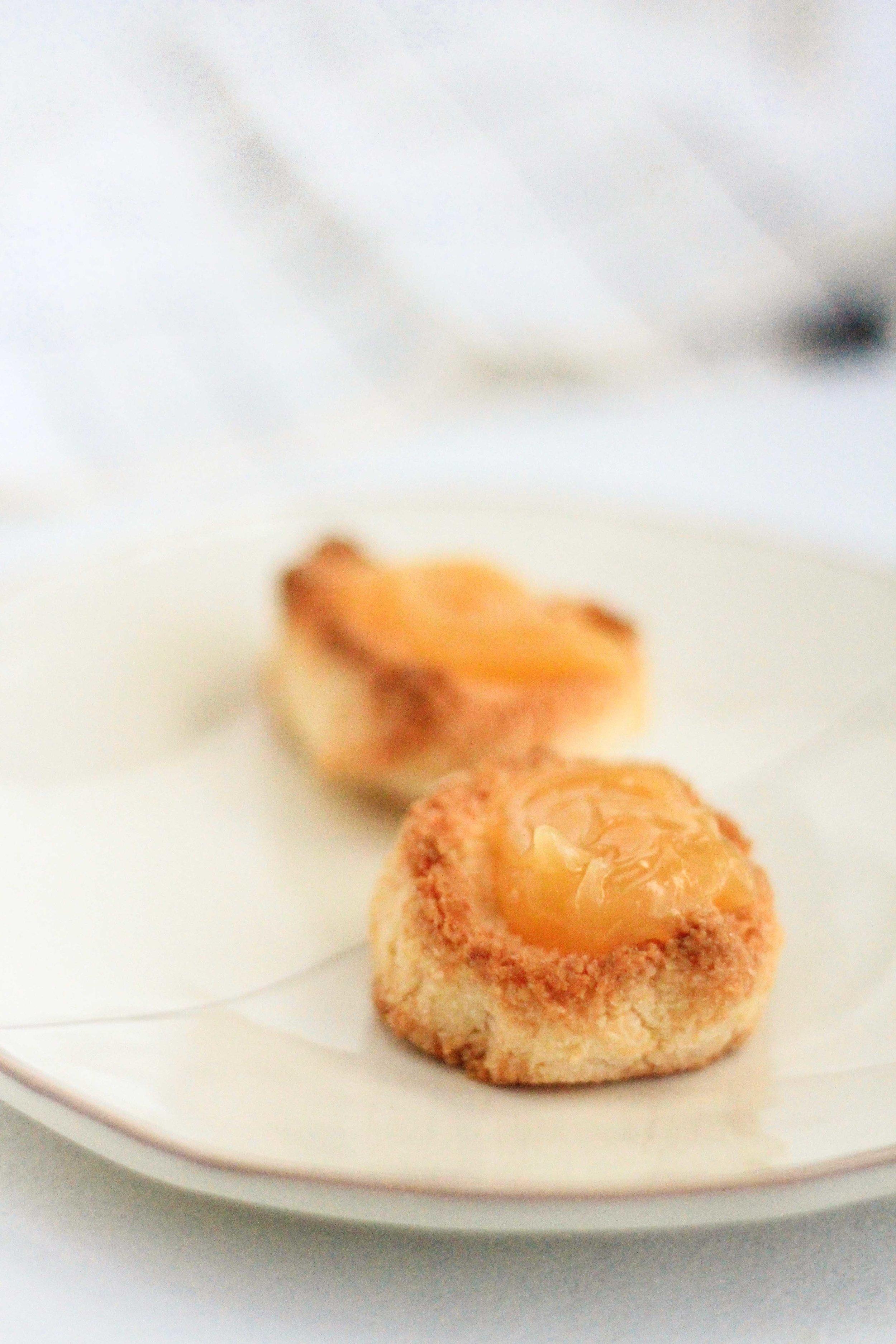Lemon thumbprint macaroon cookies