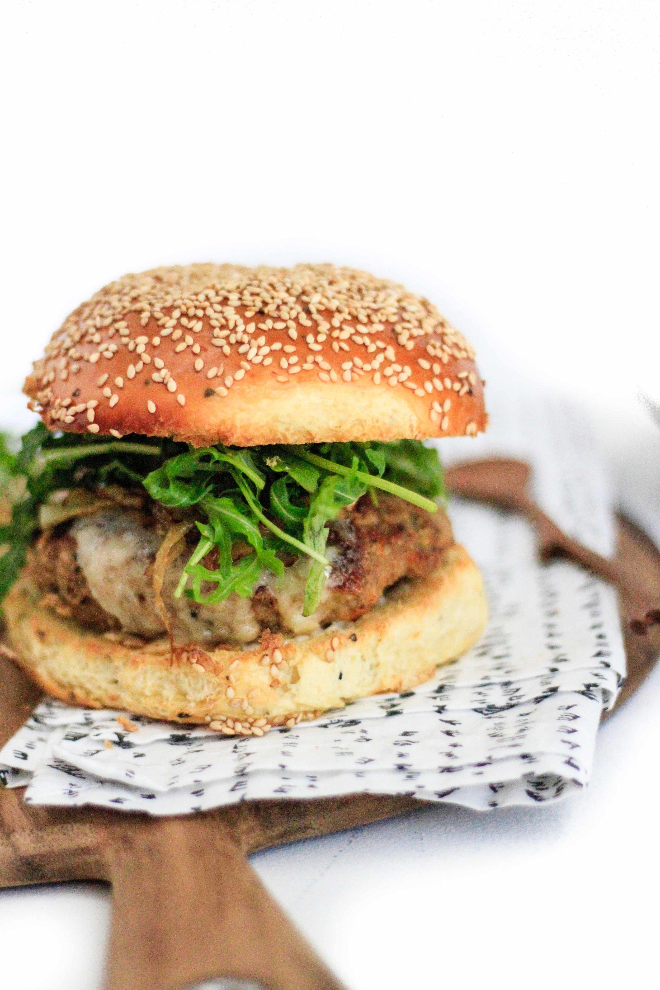 caramelized onion turkey burger