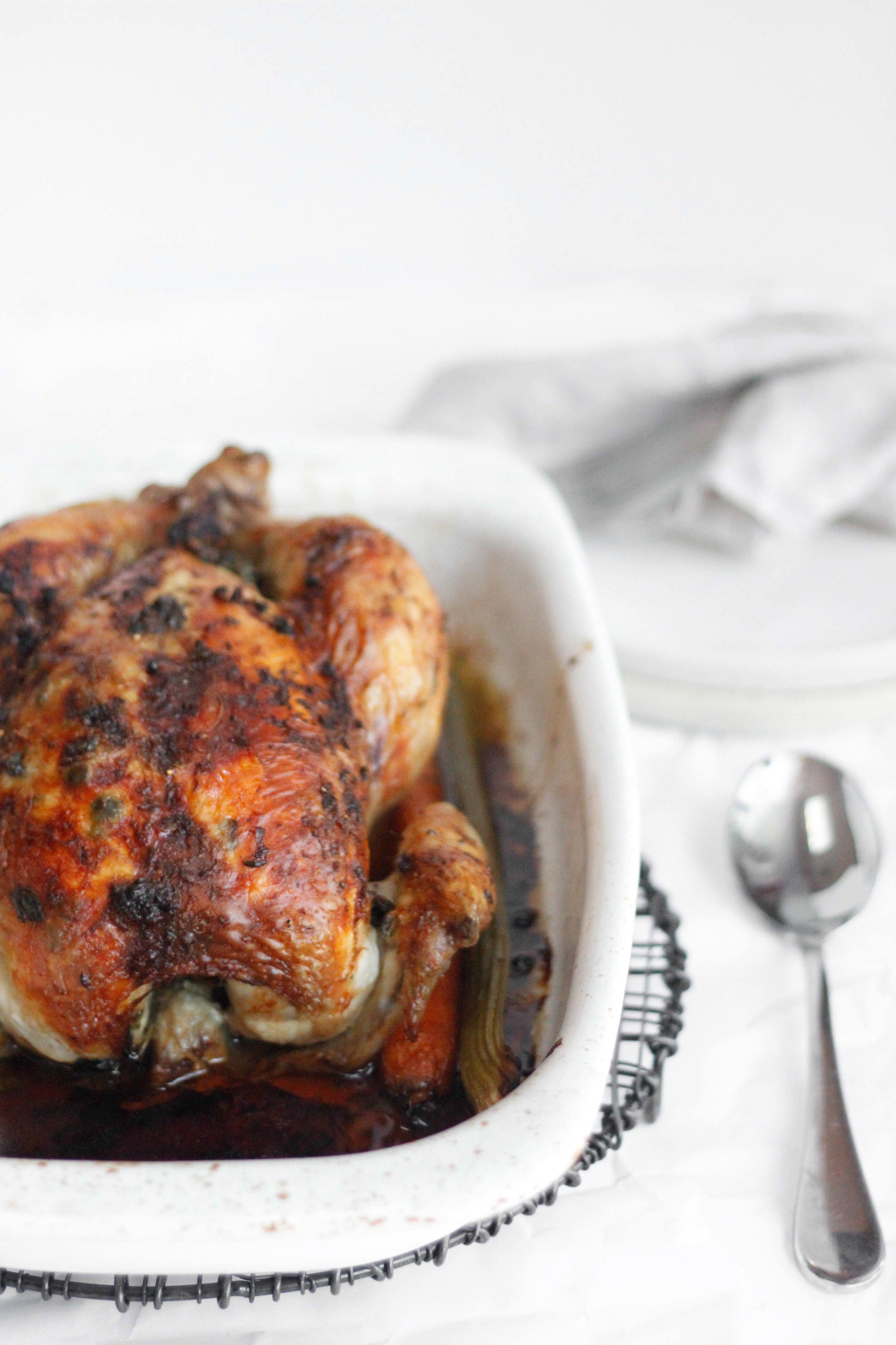 Whole roasted lemon caper chicken