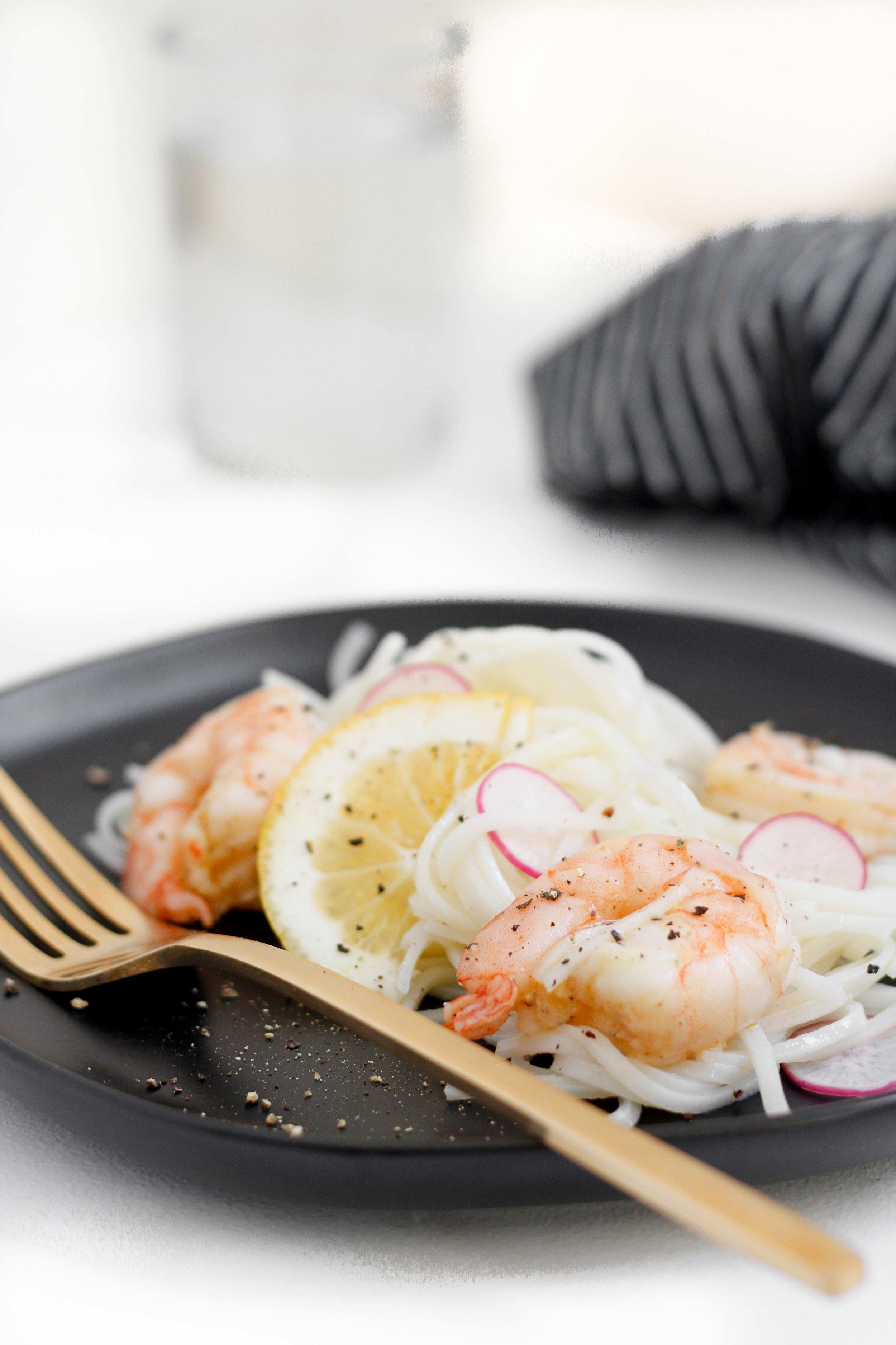 Shrimp with lemon pepper vinaigrette