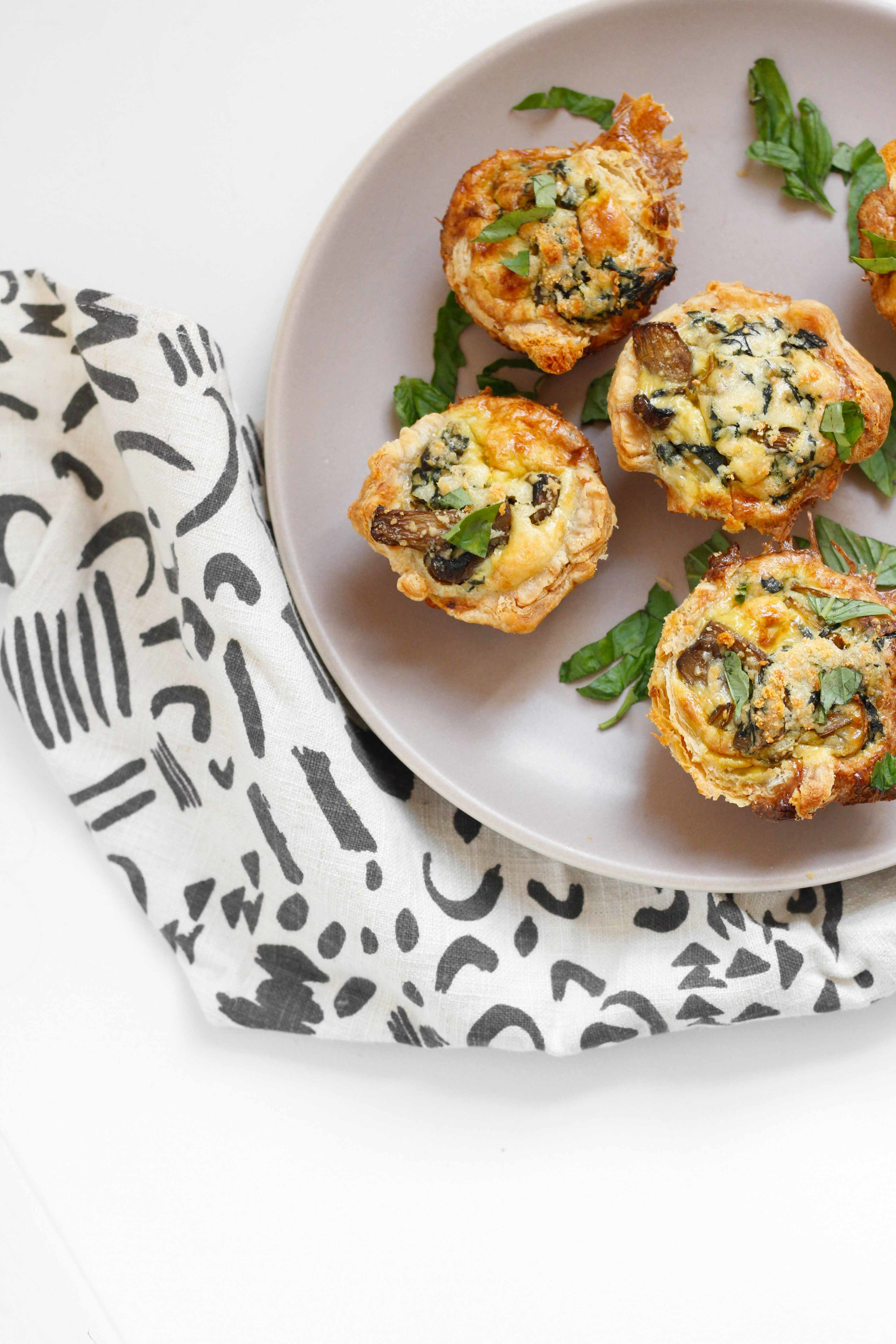Mini Breakfast Quiches with Chard and Mushrooms