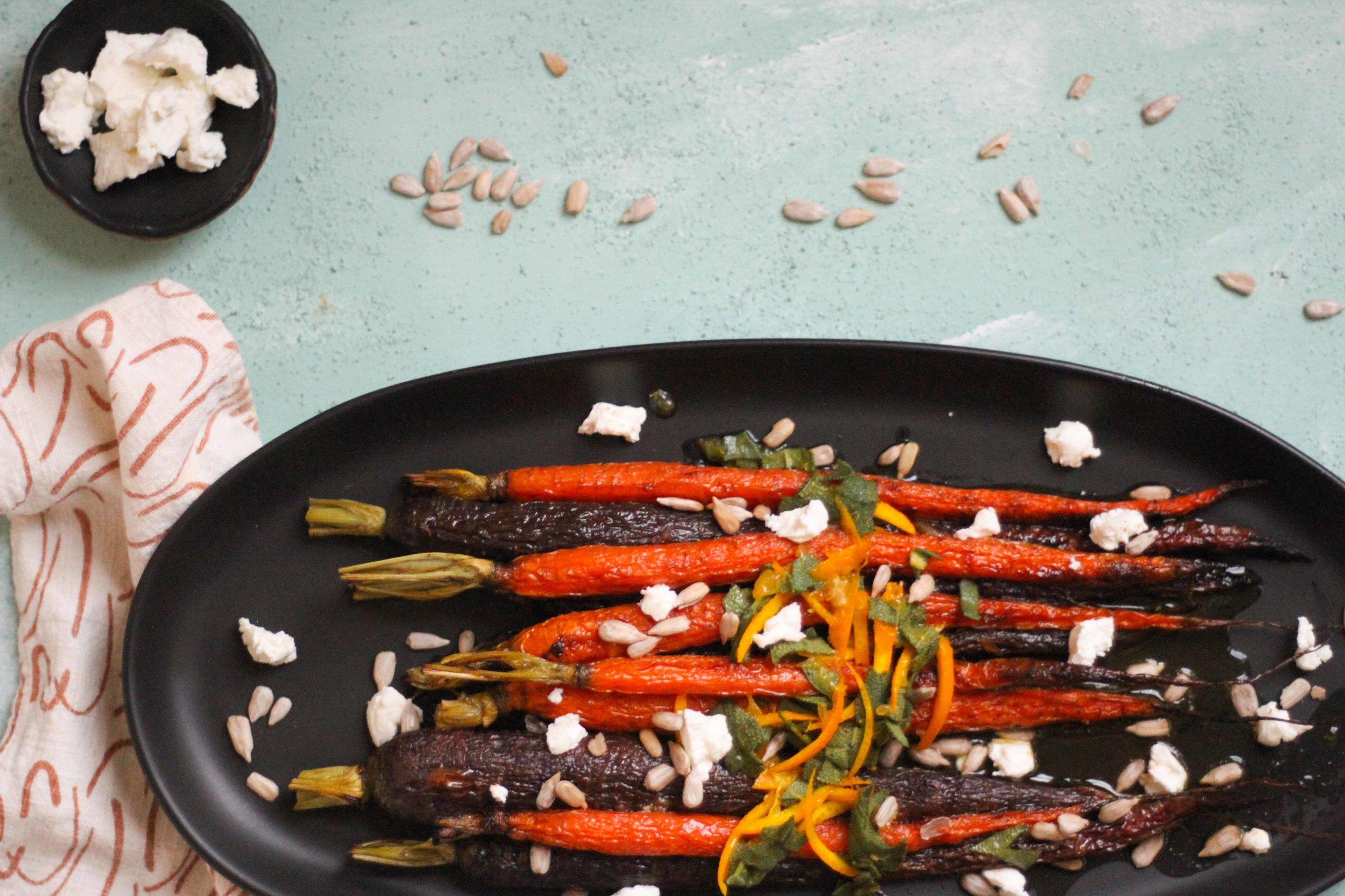 Roasted carrots with sage vinaigrette