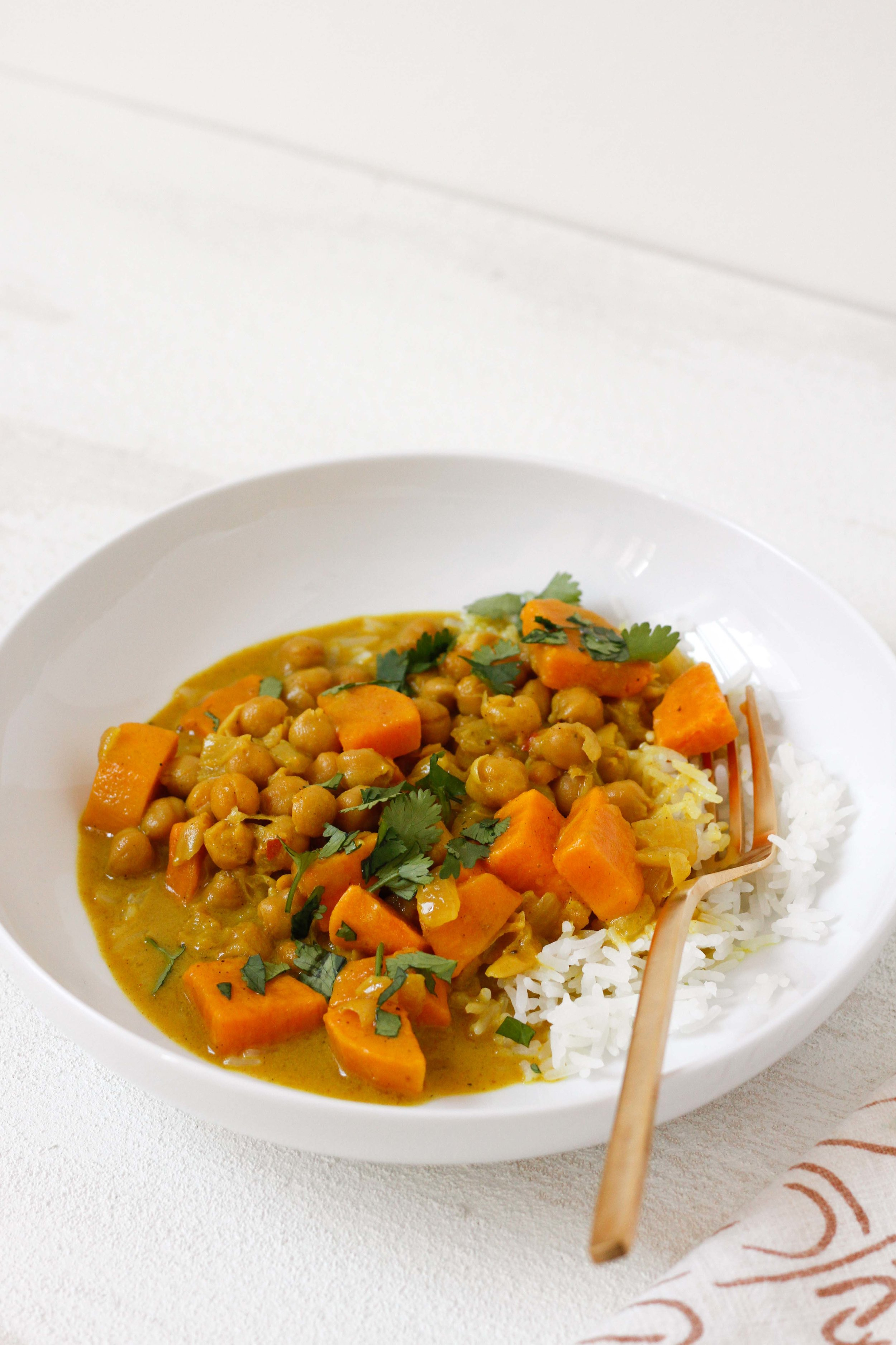 Simmered chickpea and sweet potato curry