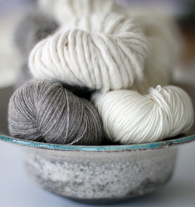 Our natural yarns are not just white, we love the natural hue of fibres to create some interesting bases to dye on.