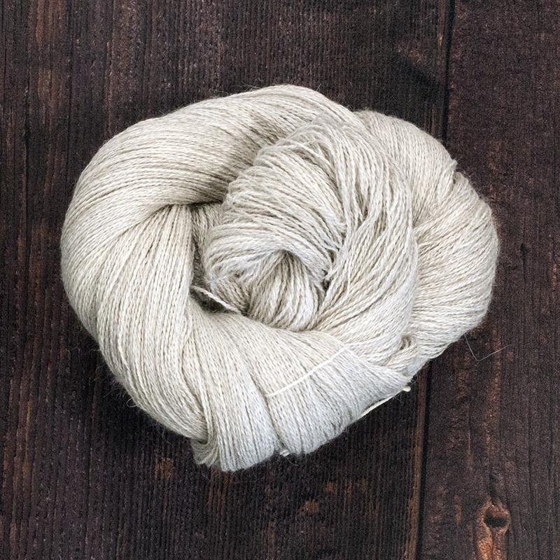 Type 49037   Angel Mist Lace   70% Natural Light Grey Alpaca  20% Silk  10% Cashmere  100g Hanks  800m per 100g  2/16nm