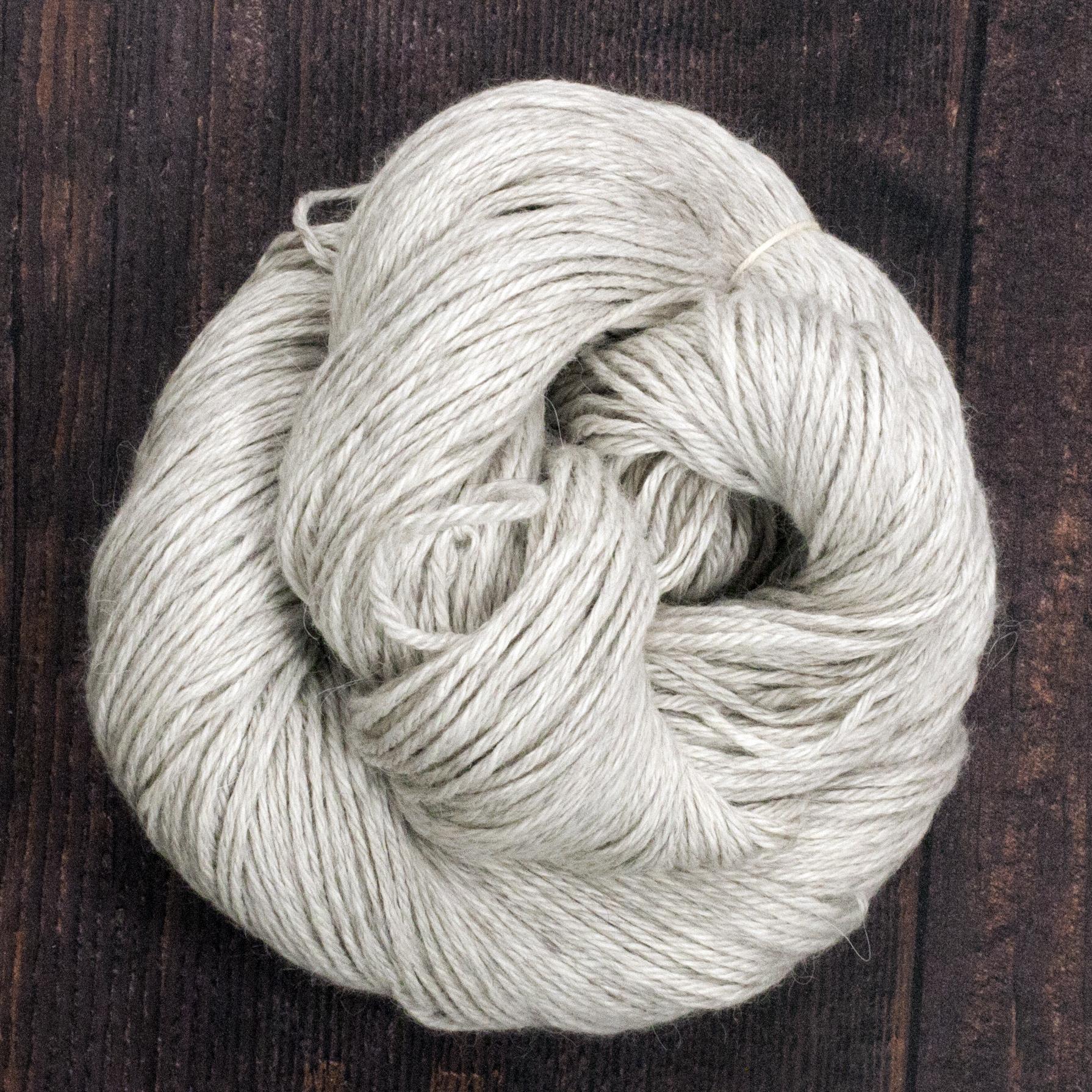Type 49231  Angel Mist DK   70% Natural Light Grey Baby Alpaca 20% Silk 10% Cashmere  100g Hanks 225m per 100g 4/9nm