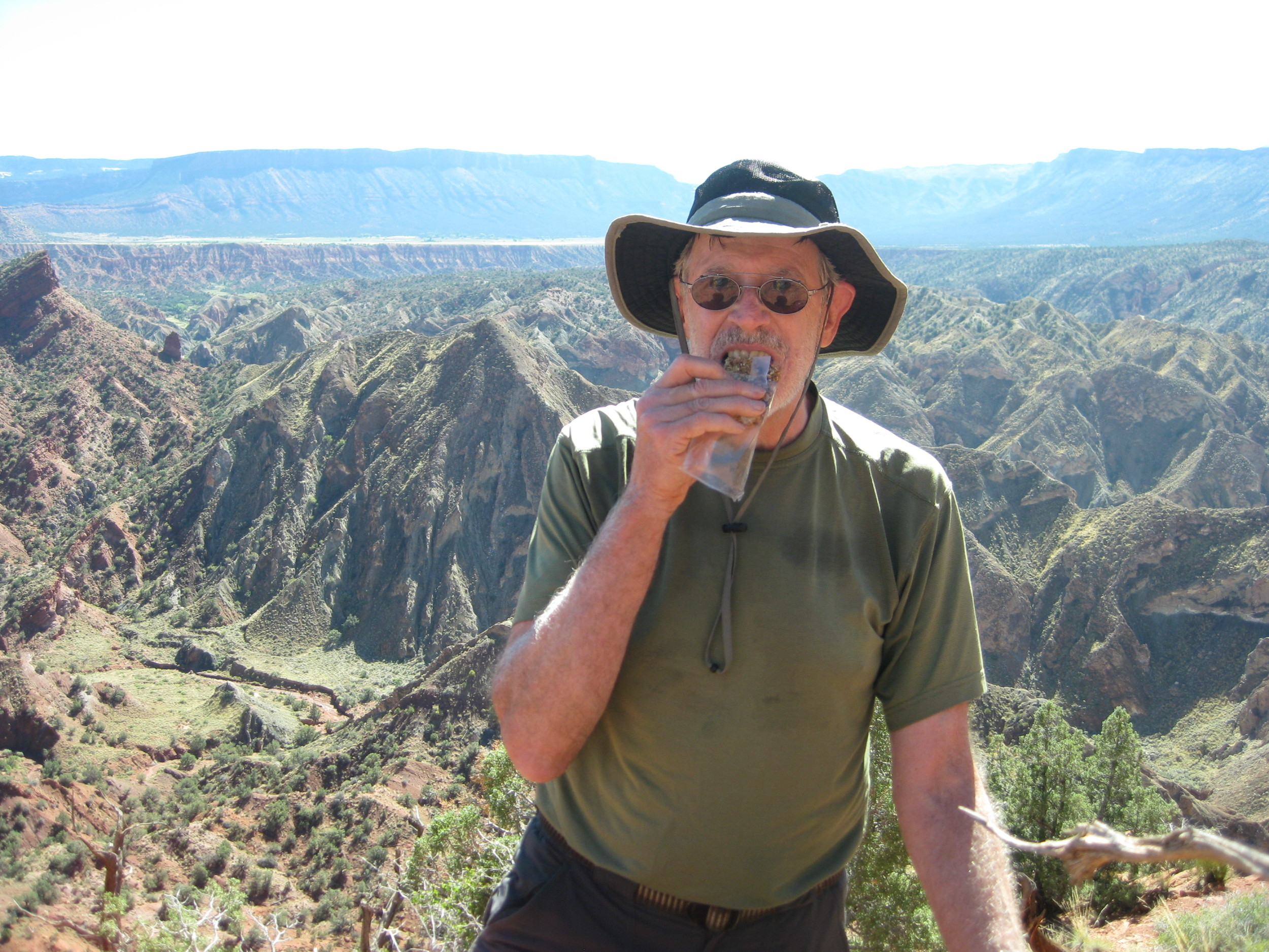 Bill and his pal John (see photo below), both from Durango, CO took a package of granola bars with them as they hiked and rappelled in the Fisher Towers area, east of Moab, Utah.