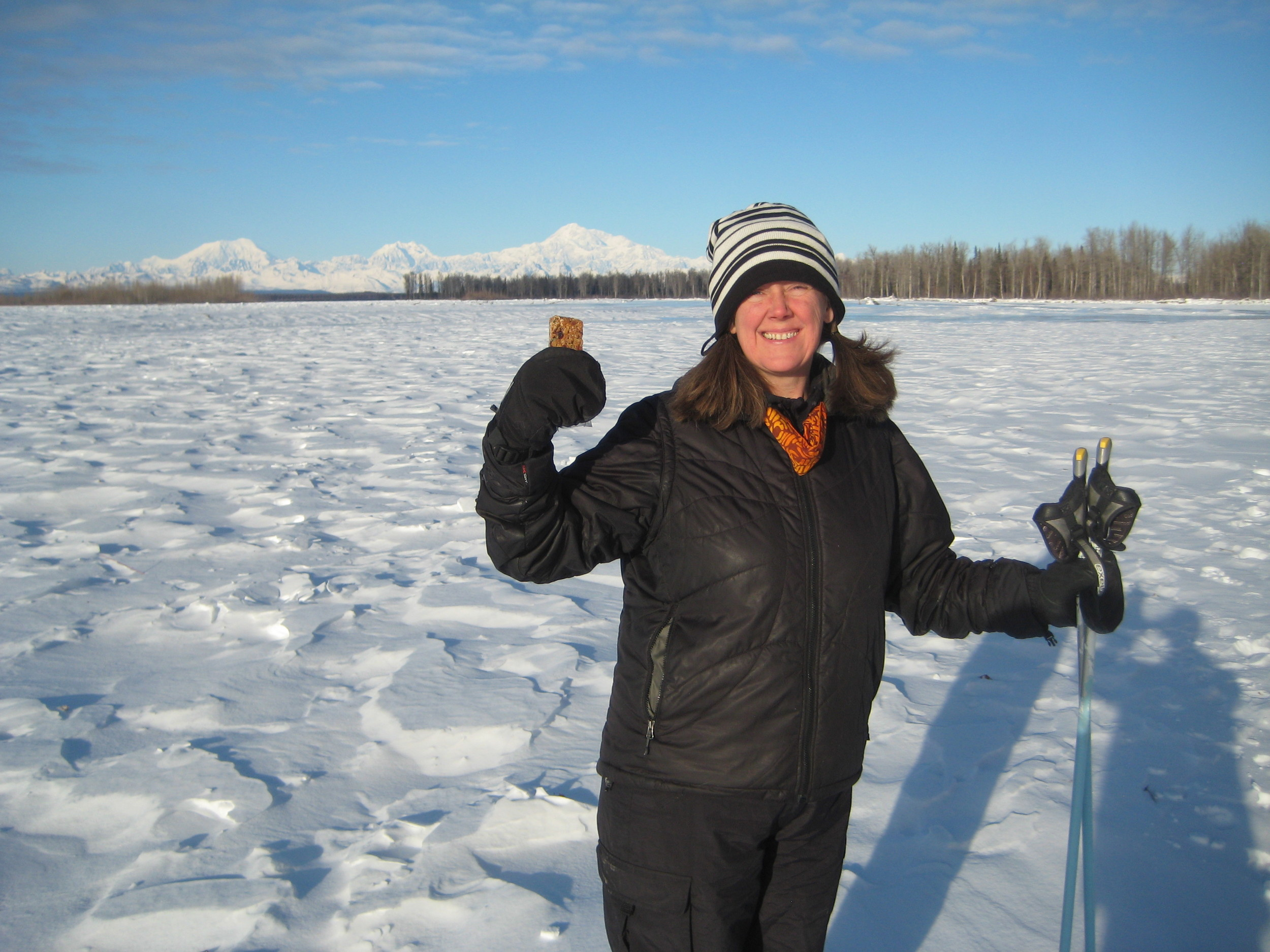 Beautiful Randi from Talkeetna, Alaska sent these photos....just another day cross-country skiing on a frozen river with the majestic Alaska Range in the background!
