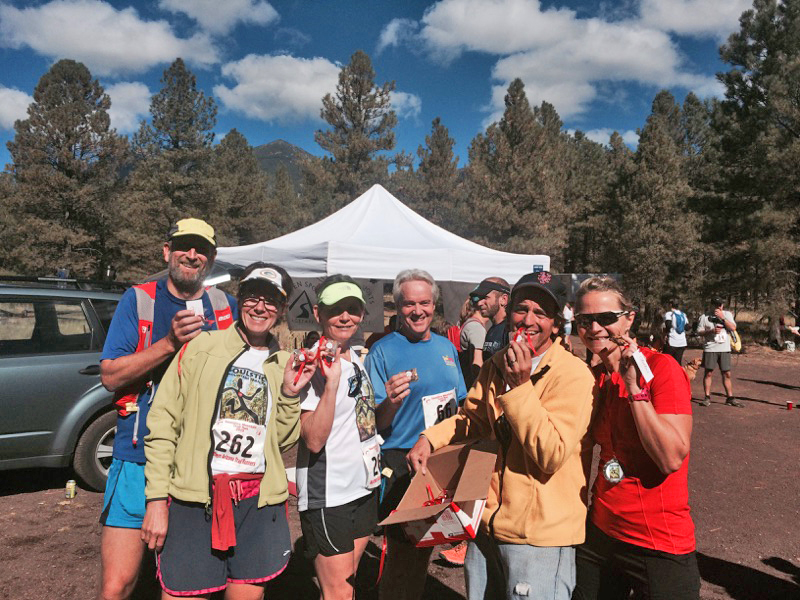 Look at these happy souls! They've just finished the 2015 Soulstice Mountain Jackie Weintraub Memorial Trail Run in Flagstaff Arizona and they're eating Nuts & Glory granola bars at the post race party!!