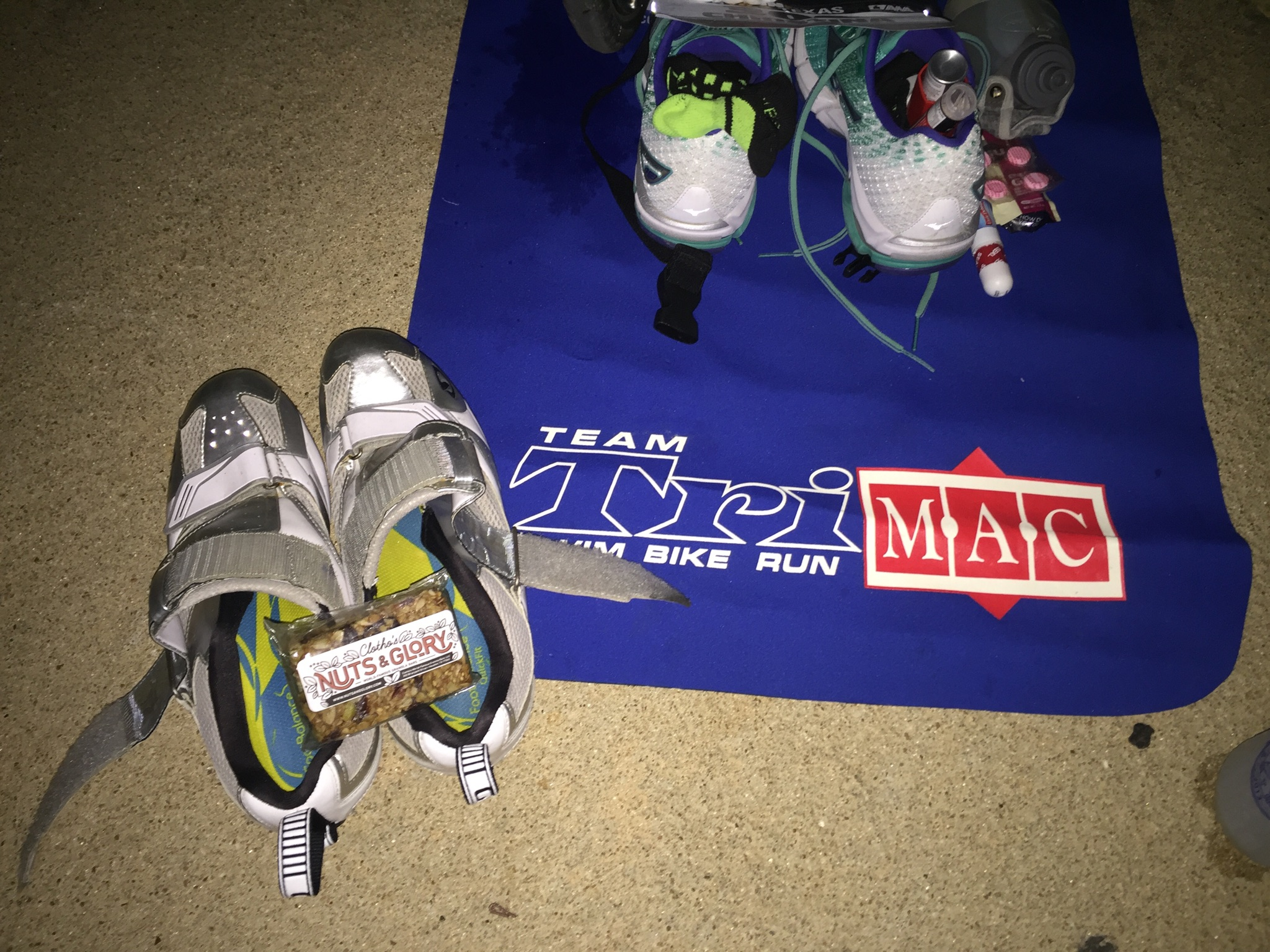Christina from Houston sent this photo of her transition mat, taken in the pre-dawn hours before Ironman Texas 70.3. Check out that Nuts and Glory granola bar placed strategically on her cycling shoes...ready to go! Super awesome. Thanks Christina!
