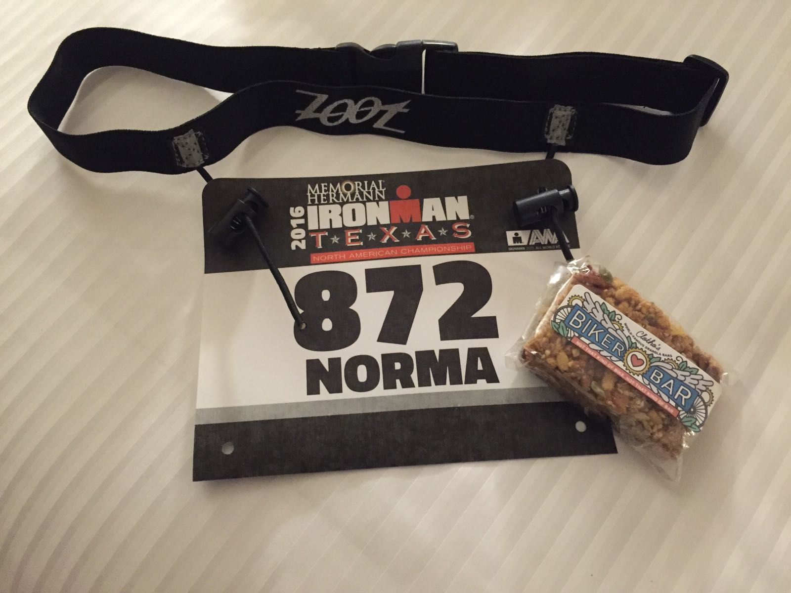 Norma from Houston sent these two photos from her debut Ironman race, which she finished strong despite insane weather including torrential rain, hail, and hurricane-force winds!
