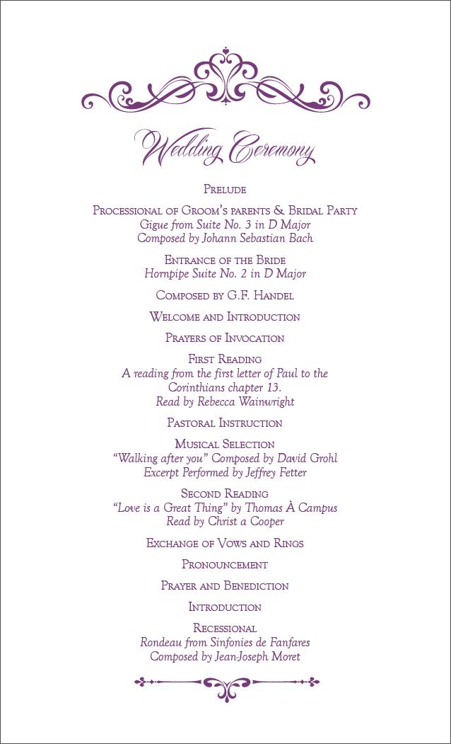 Ceremony Card - Back