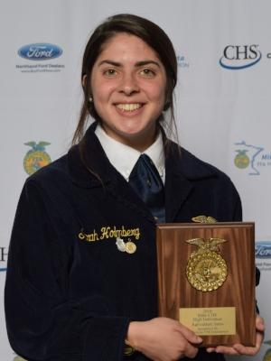 Agricultural Sales    Sarah Holmberg    Jackson County Central FFA Chapter    Sponsor: Minnesota FFA Foundation