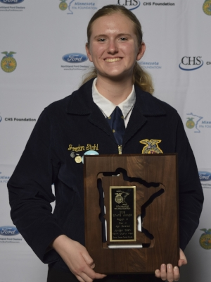 Star in Agriscience    Jordan Stahl    Martin County West FFA    Sponsor: Compeer Financial Services
