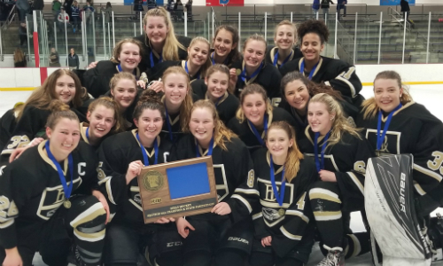 East Ridge | Section 3AA Champion    Roster  |  Schedule / Results  |  Website  |  Media Guide    Team Twitter  |  School Twitter  |  Students Twitter  | Team FB | School FB   Woodbury Bulletin Story   Quarterfinal result:  L, 0-7  vs. Edina  Consolation Semifinal result:  L, 2-5  vs. Maple Grove