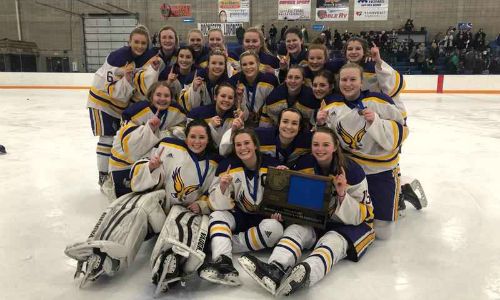 #5 Rochester Lourdes | Section 1A Champion    Roster  |  Schedule / Results  |  Website  |  Media Guide    Team Twitter  |  School Twitter  | Students Twitter |  Team FB  |  School FB    Post Bulletin Story  |  KAAL Video   Quarterfinal result:  L, 2-3 (OT)  vs. Proctor/Hermantown  Consolation Semifinal result:  W, 4-3 (OT)  vs. St. Paul United