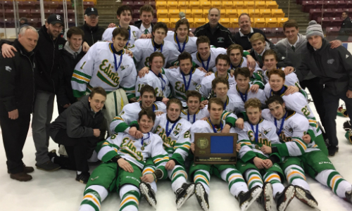 #1 Edina | Section 6AA Champion    Roster  |  Schedule / Results  |  Website  |  Media Guide   Team Twitter |  School Twitter  |  Students Twitter  | Team FB |  School FB   Quarterfinal result:  W, 4-2  vs. Moorhead  Semifinal result:  W, 6-3  vs. St. Thomas Academy