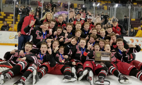 #5 Duluth East | Section 7AA Champion    Roster  |  Schedule / Results  | Website |  Media Guide    Team Twitter  |  School Twitter  |  Students Twitter  |  Team FB  |  School FB    Duluth News Tribune Story  |  WDIO Video   Quarterfinal result:  L, 1-3  vs. St. Thomas Academy  Consolation Semifinal result:  W, 3-2  vs. Moorhead