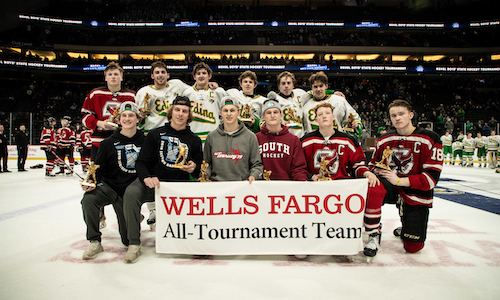 2018-19 Boys Hockey Class AA All-Tournament Team    Names of team members    Photo Credit:    MN Prep Photo
