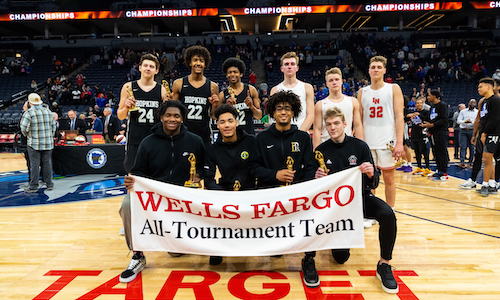 2018-19 Boys Basketball Class AAAA All-Tournament Team    Names of team members   Photo credit:  MN Prep Photo