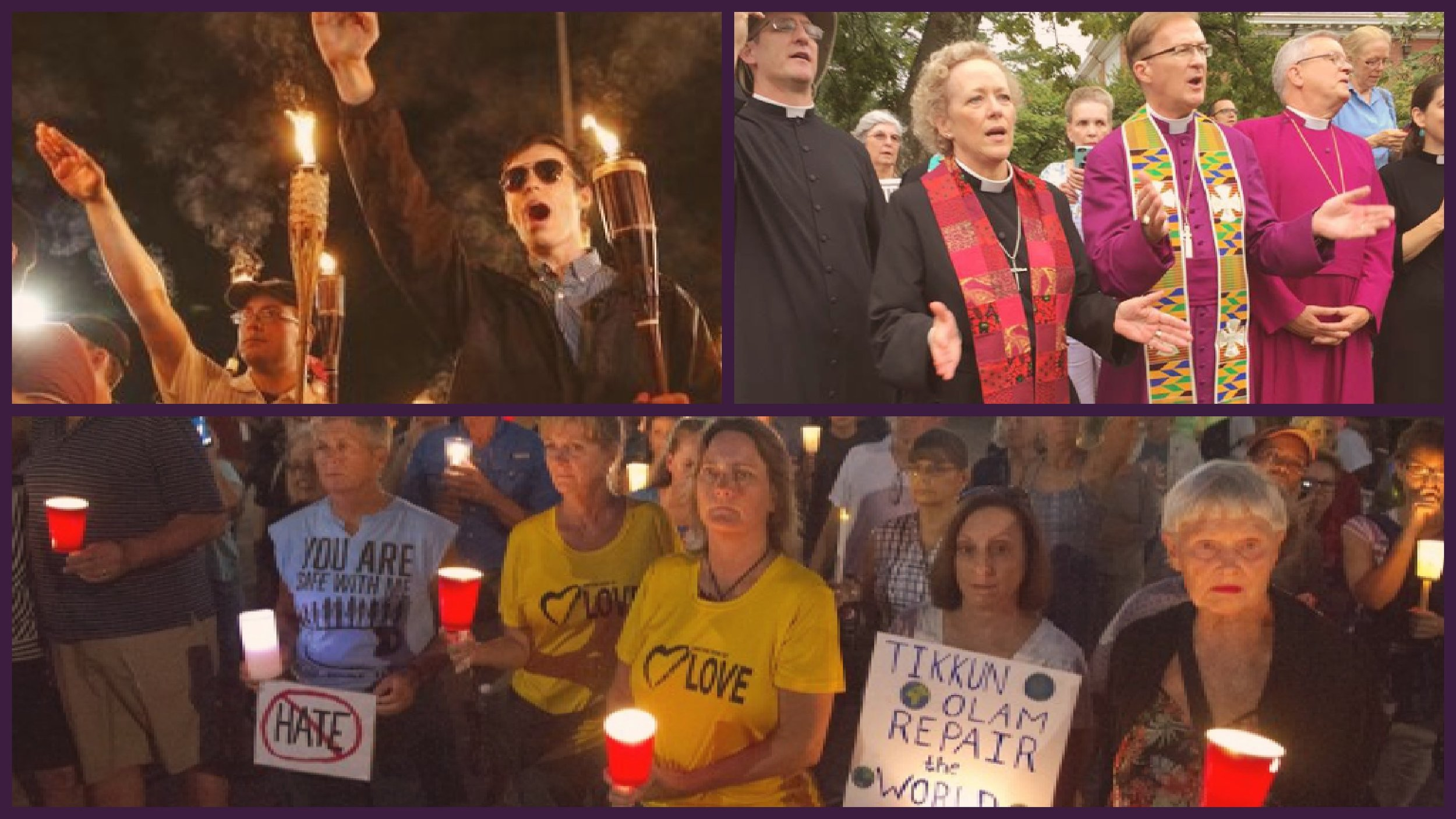 Scenes from Charlottesville, August 1987. Friday night's Rally, the Bishops of Virginia attend Saturday in prayerful counter-protest, Wednesday night's vigil for peace.