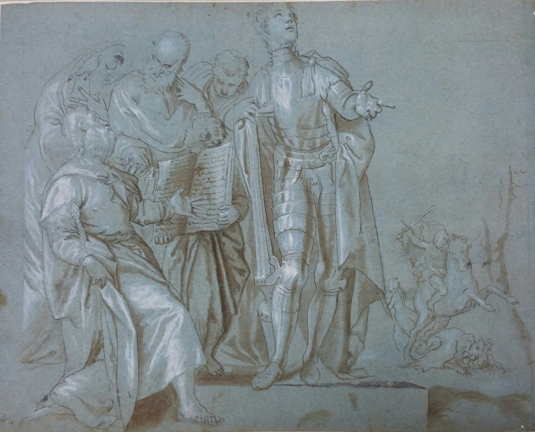 Workshop of Veronese, with question of his hand,  Compositional Study or Ricordo  related to the  Bottom Half of the Altar of St. George in Braida.