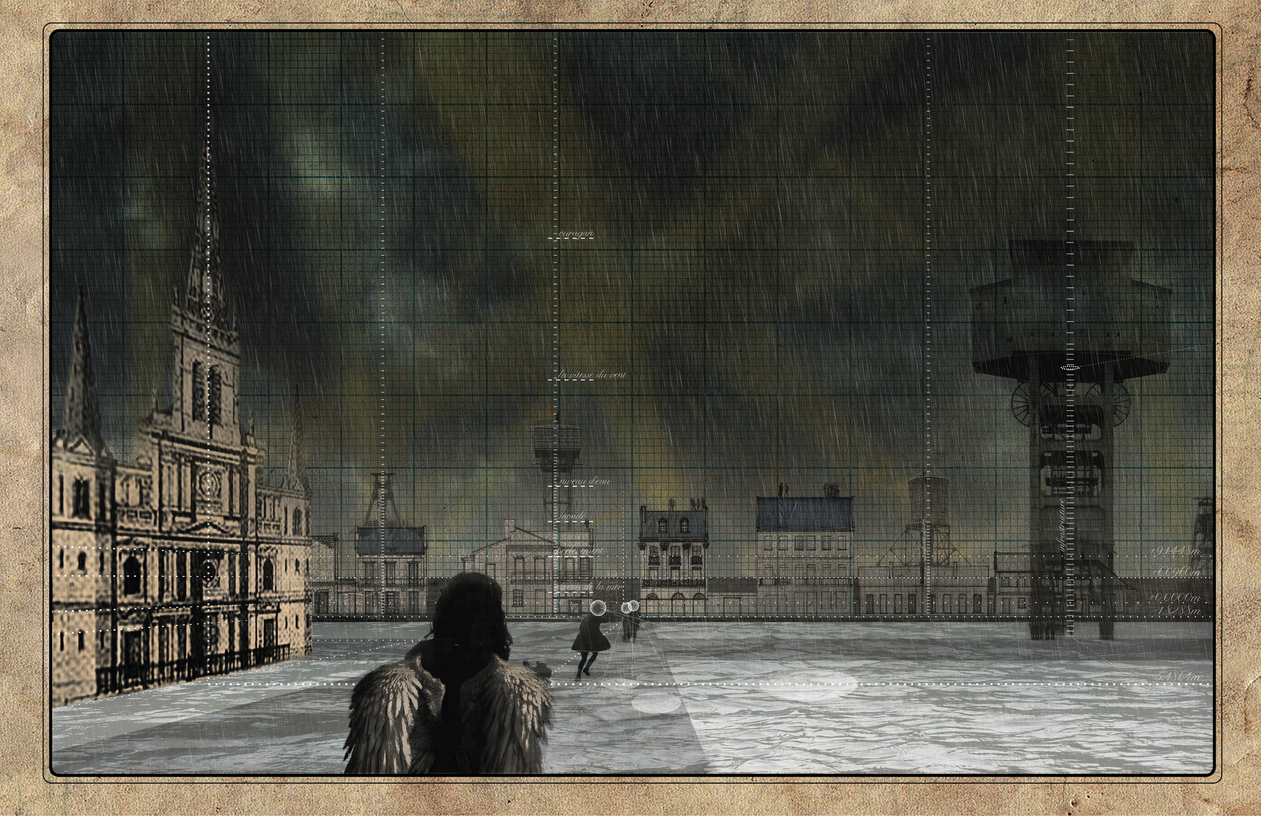 Ovala wades through the flooded city.