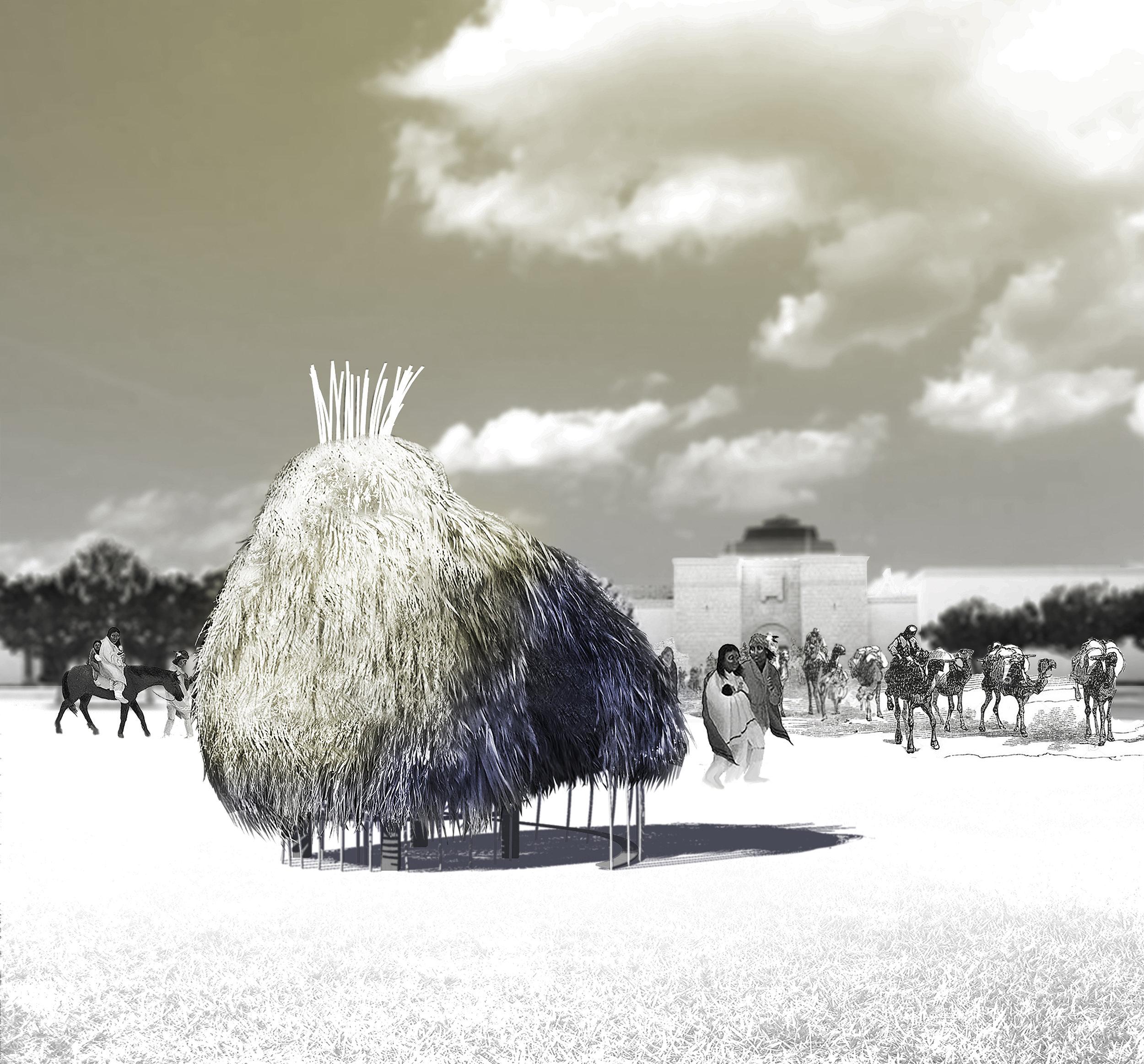 Dallas Sukkah - object in field.jpg