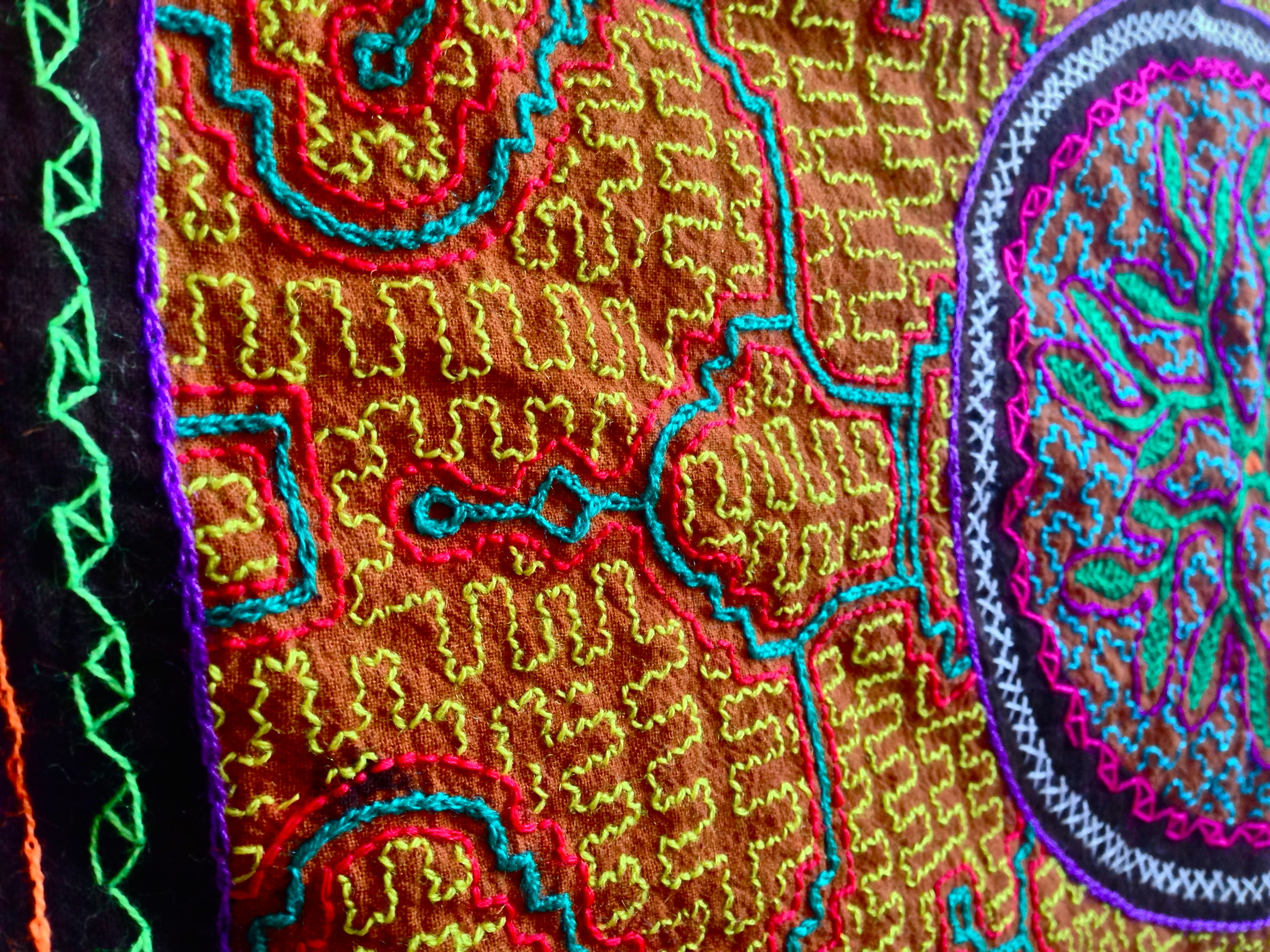 Shipibo Tapestry depicting visions from shamanic ceremonies