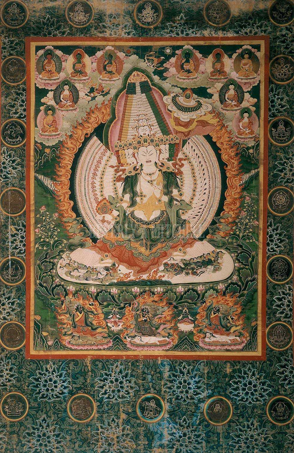 Parasol - The parasol is a symbol for protection from harmful forces and a place to take refuge the way followers take refuge in the dharma.