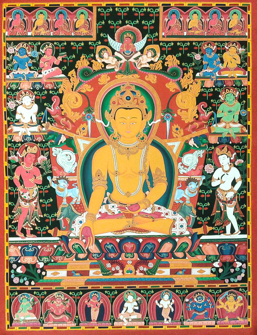 BhumisparshaMudra - With all five fingers of the right hand extended to touch the ground, this hand gesture symbolizes the Buddha's summoning Sthavara, the earth goddess, to witness his defeat of mara (the hindering force) that will be followed by his attainment of enlightenment.